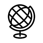 globe Thin Line Vector Icon