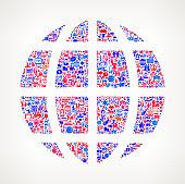 Globe on U.S.A Icon Pattern
