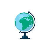 Vector flat colorful table globe on white background