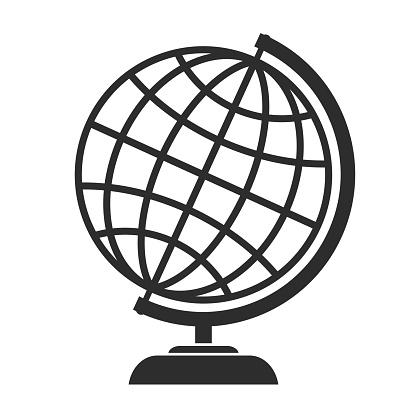 Globe vector icon on white background