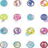 The vector files of globe icon set.