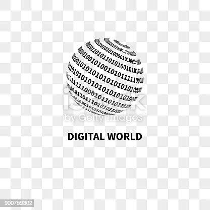 Globe with binary code. Digital world. Vector