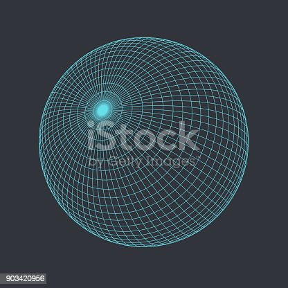 Vector illustration of Globe, perfectly round geometrical solid figure. Three-dimensional transparent object. Abstract polygonal shape and simple geometric form. Isolated on colored background.
