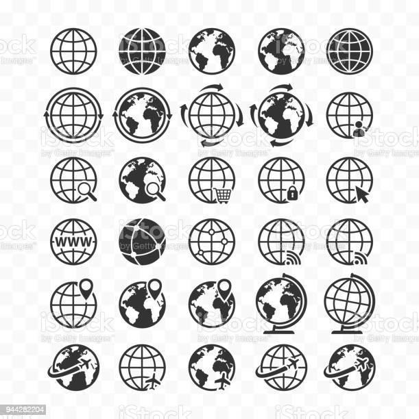 Globe Web Icon Set Planet Earth Icons For Websites - Arte vetorial de stock e mais imagens de Alfinete