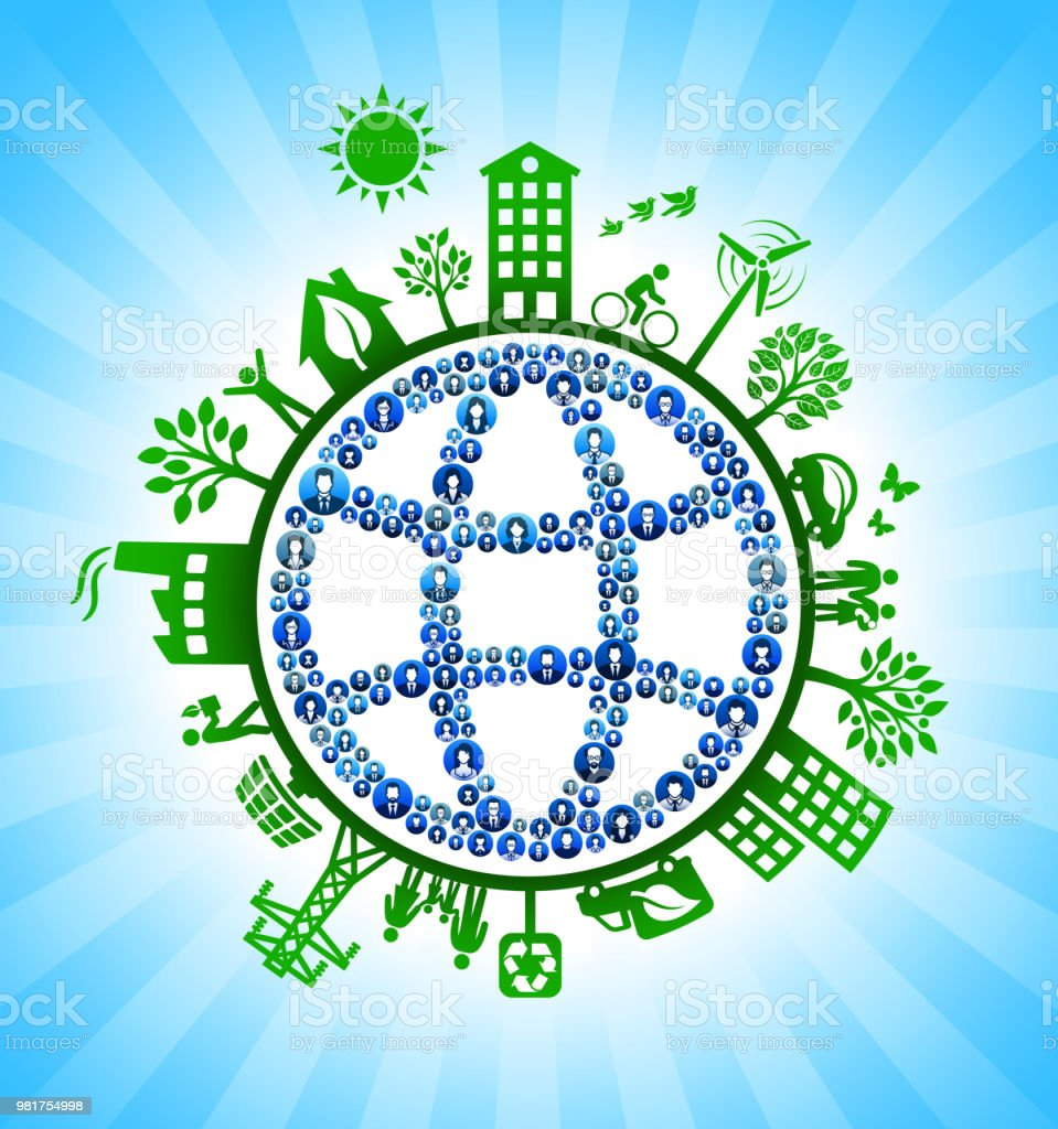 Globe Wireframe Business People Green Environmental Conservation...
