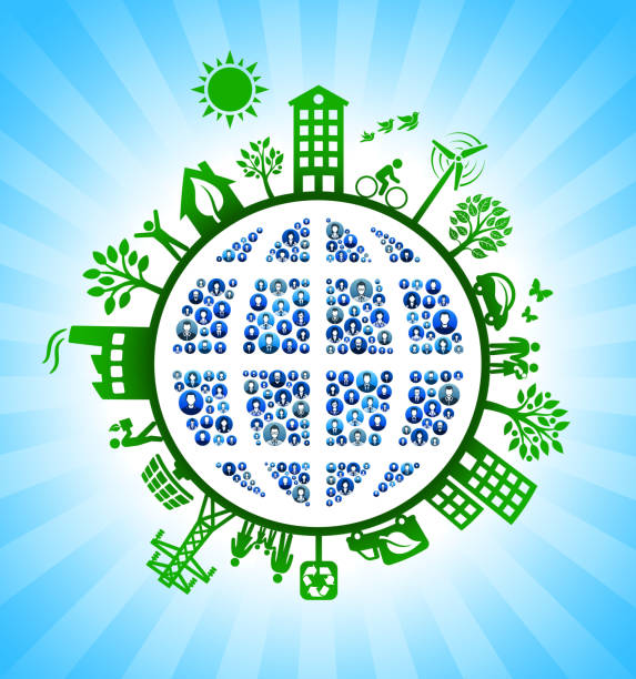 ilustrações de stock, clip art, desenhos animados e ícones de globe wireframe business people green environmental conservation background - wireframe solar power