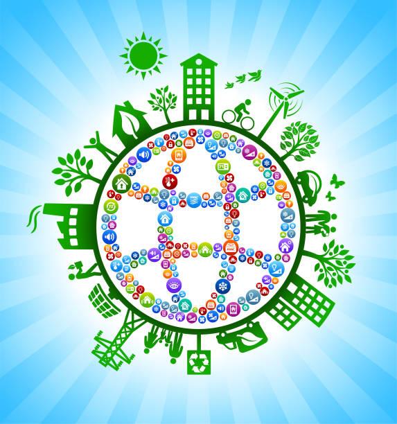 ilustrações de stock, clip art, desenhos animados e ícones de globe wireframe home automation green environmental conservation background - wireframe solar power