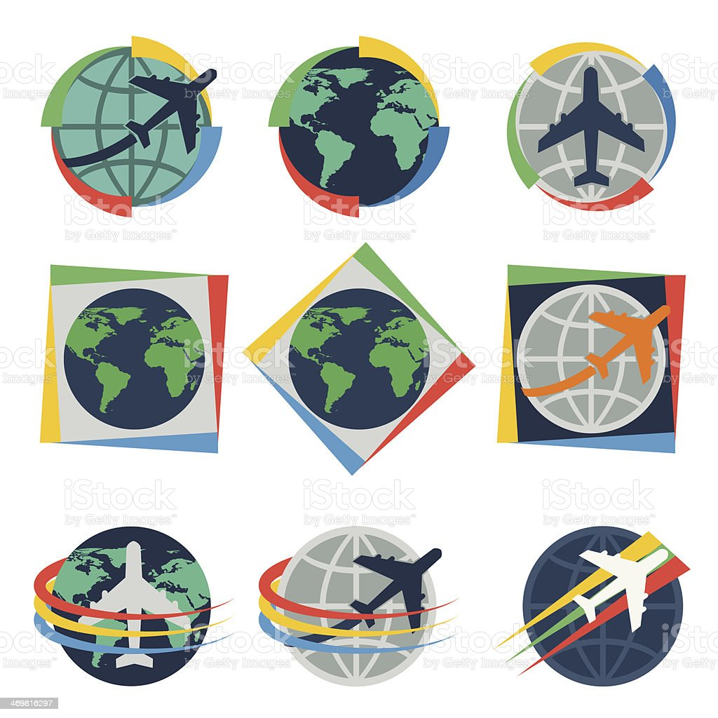 Globe With Airplane And Line Design Credit Nasa Stock Vector