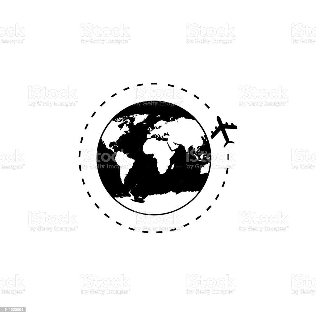 Globus Mit Flugzeugsymbol Vektorillustration Stock Vektor Art und ...
