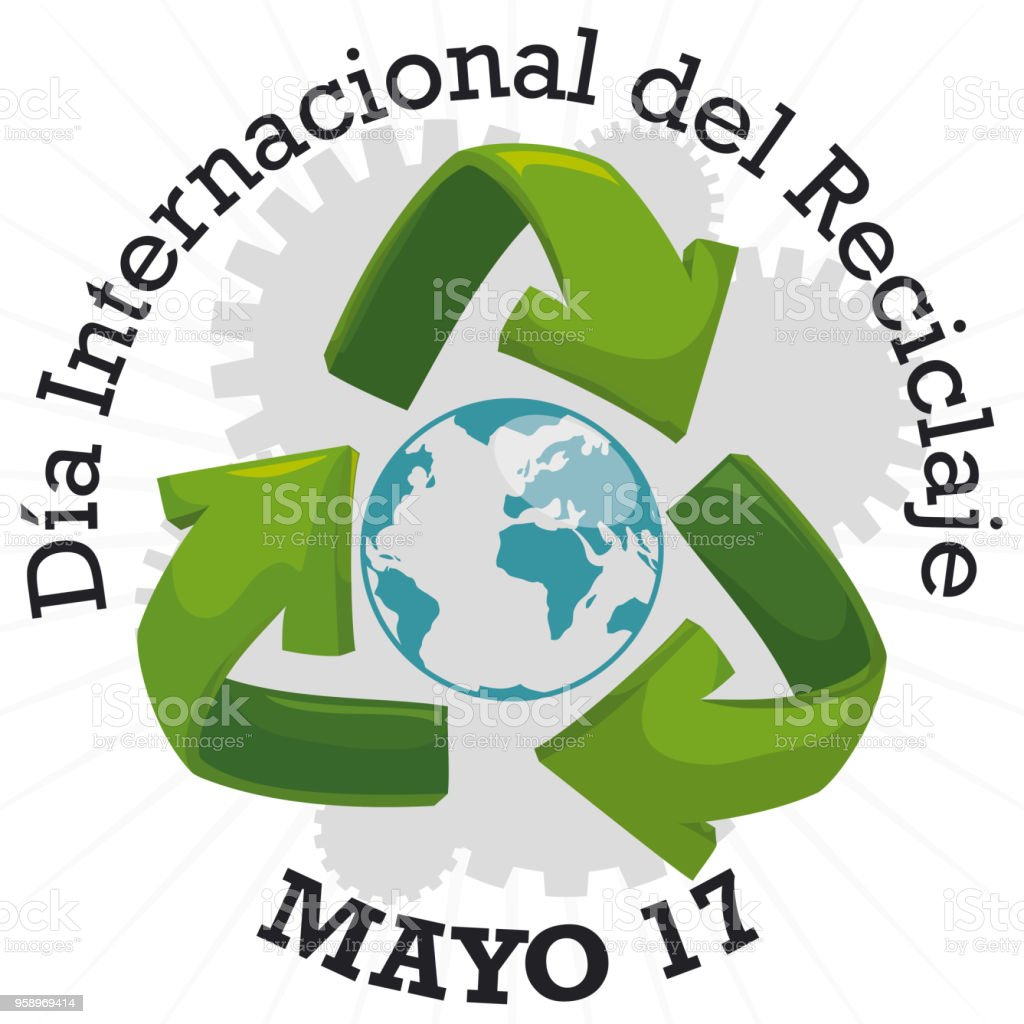 Globe With Arrows And Gears For Spanish International Recycling Day
