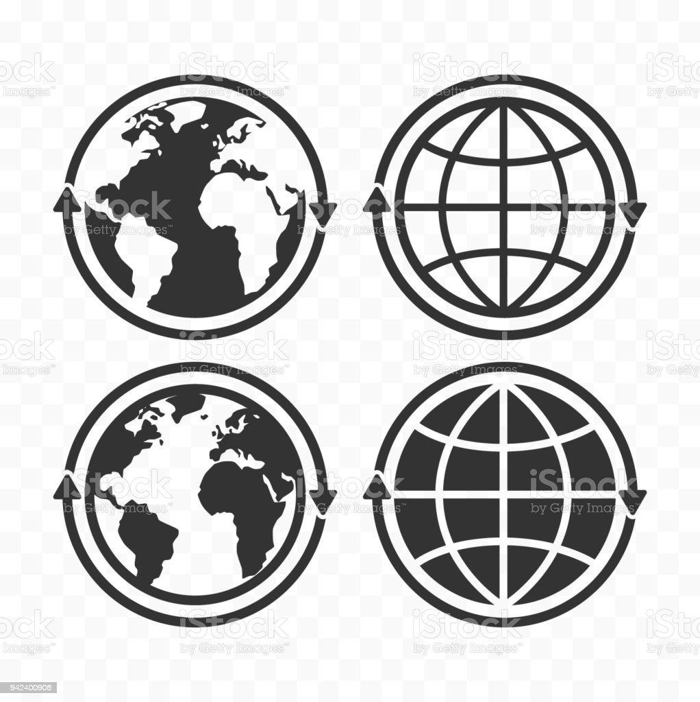 Globe with arrows concept icon set. Planet Earth and arrows icon symbols - Royalty-free Bulgária arte vetorial