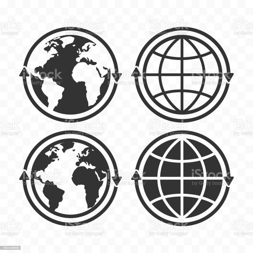 Globe with arrows concept icon set. Planet Earth and arrows icon symbols vector art illustration