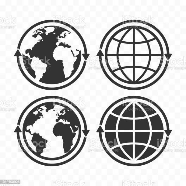 Globe With Arrows Concept Icon Set Planet Earth And Arrows Icon Symbols - Arte vetorial de stock e mais imagens de Bulgária