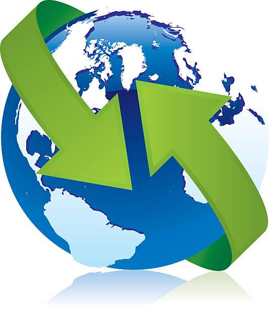 globus mit pfeil - eiszeit stock-grafiken, -clipart, -cartoons und -symbole