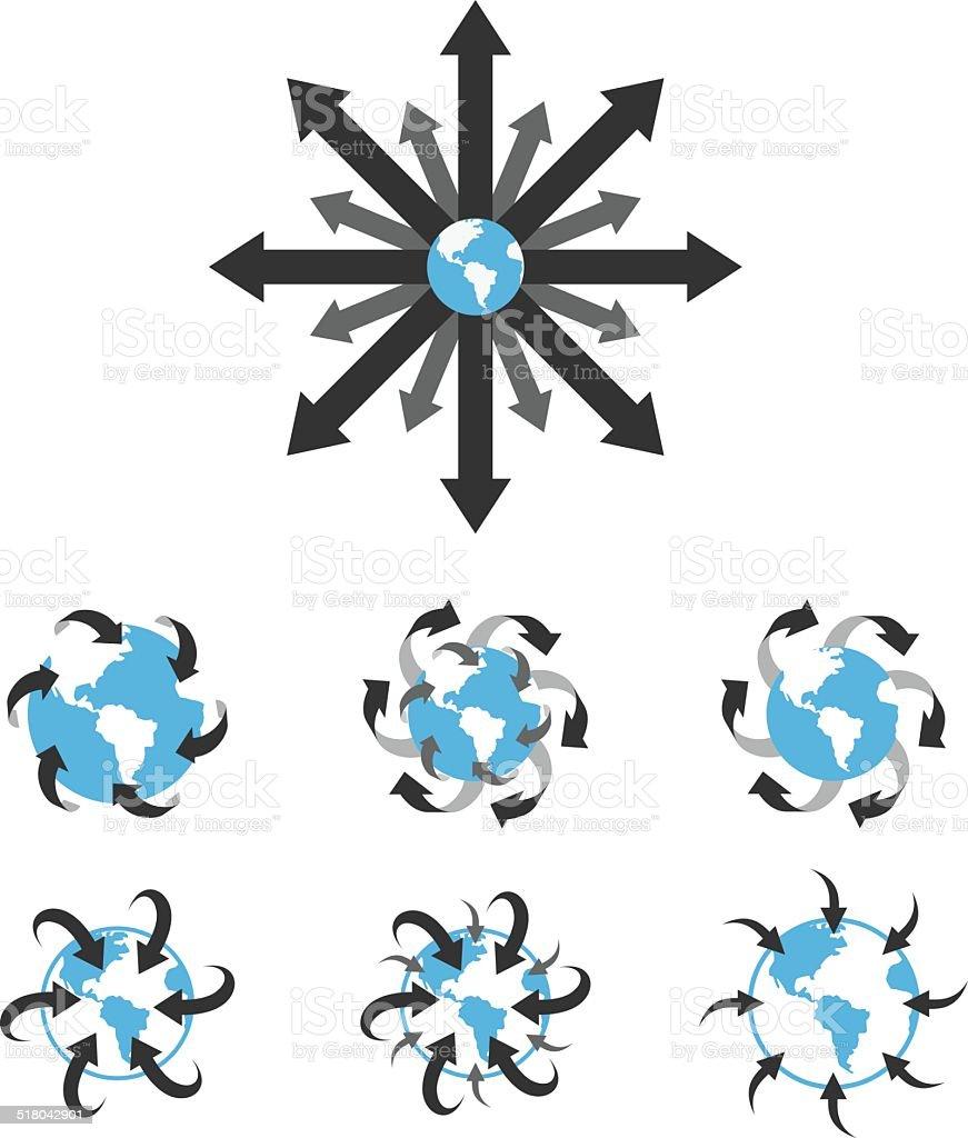 Globe with Arrows vector art illustration