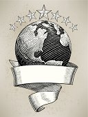 Globe with Banner and Stars, Travel, Science Background