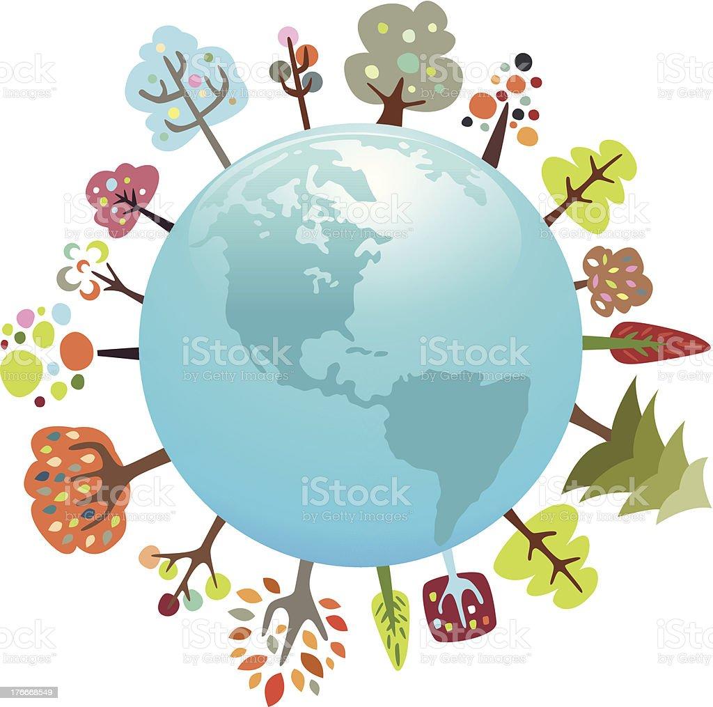 Globo con colorido árboles ilustración de globo con colorido árboles y más banco de imágenes de biología libre de derechos