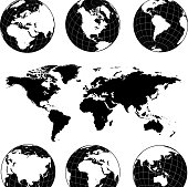 Globe with Continents black and white royalty-free vector icon set