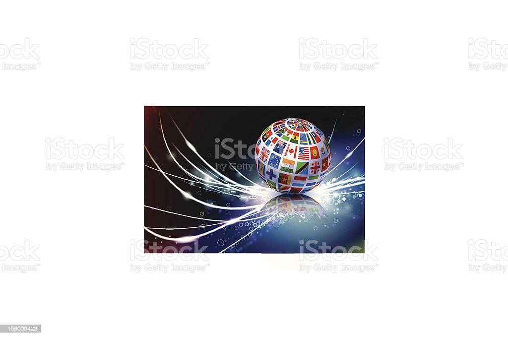 Globe with different national flags with fiber optics royalty-free stock vector art