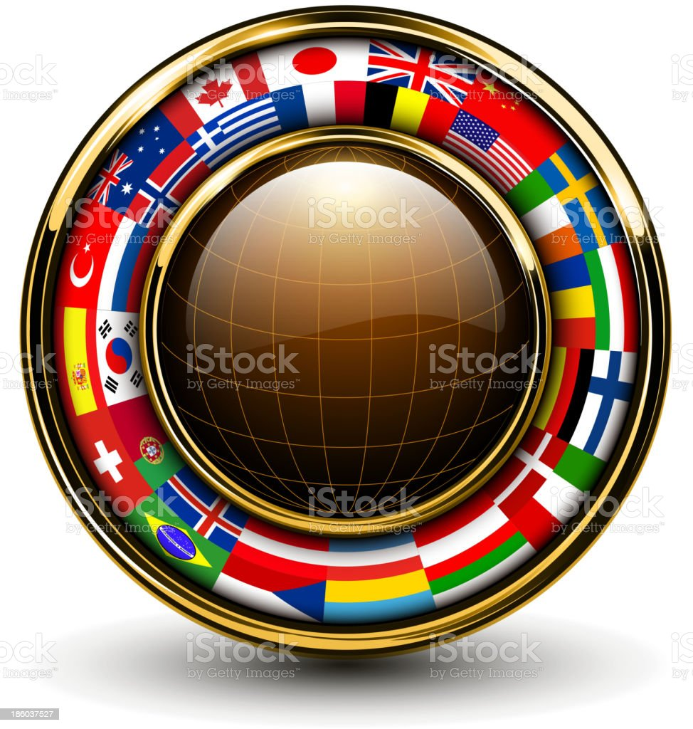 Globe with flags around royalty-free stock vector art