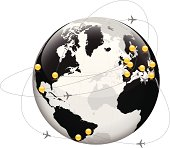 istock Globe with Largest Cities and Airbus paths 165956150