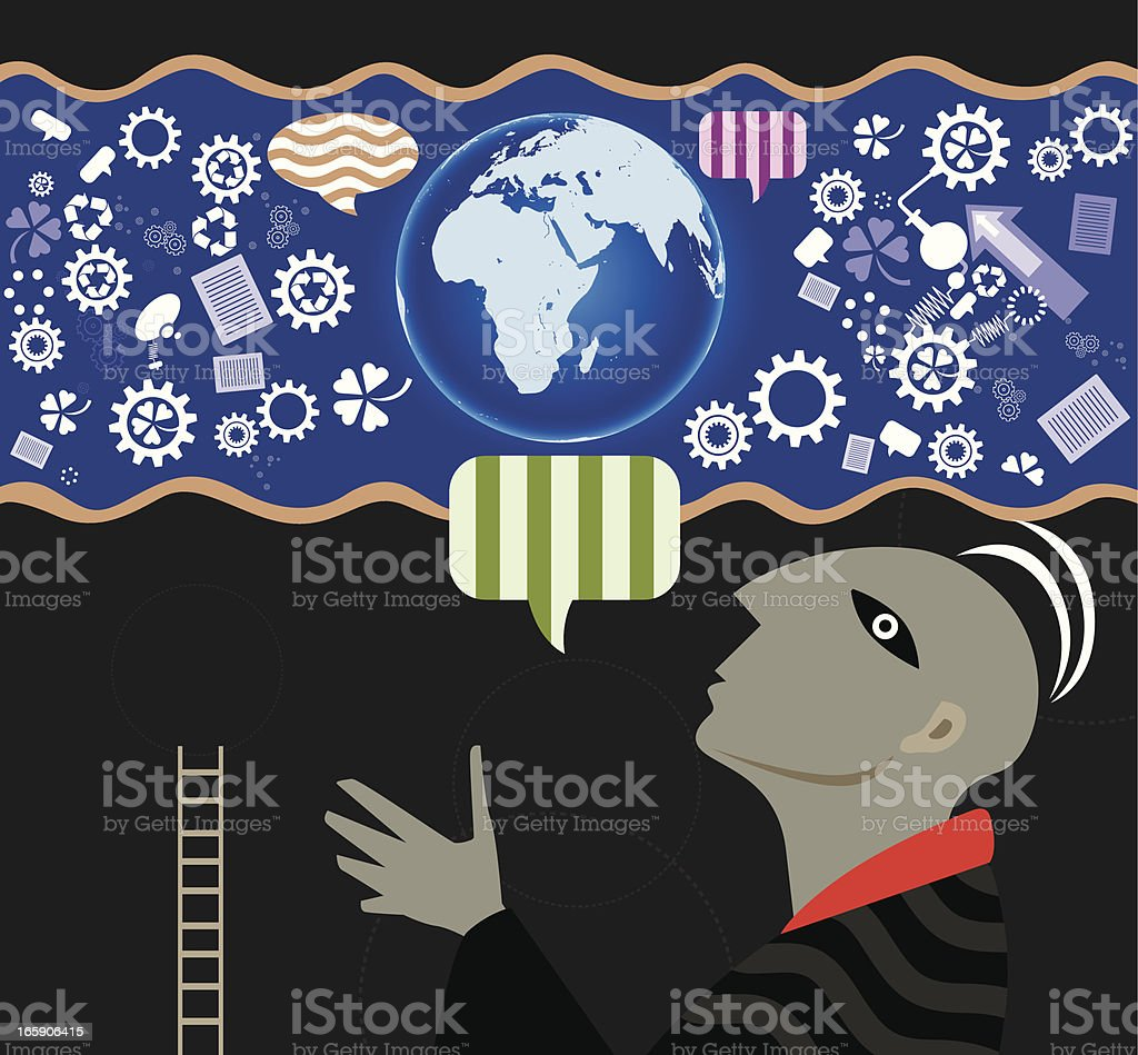 Globe with Nature and recycling royalty-free stock vector art
