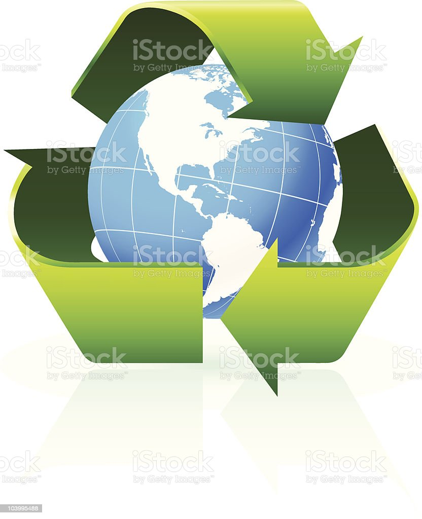 Globe with recycling sign royalty-free stock vector art