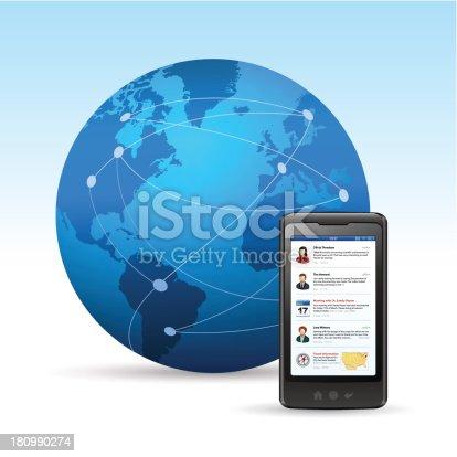 istock Globe with smart phone 180990274