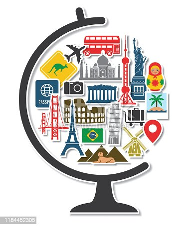 Globe with Travel Around the World Icons Landmarks Tourist Vacation Destination Stickers in Round Shape