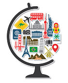 Globe with Travel Around the World Icons Landmarks Tourist Vacation Destination Stickers in Round Shape