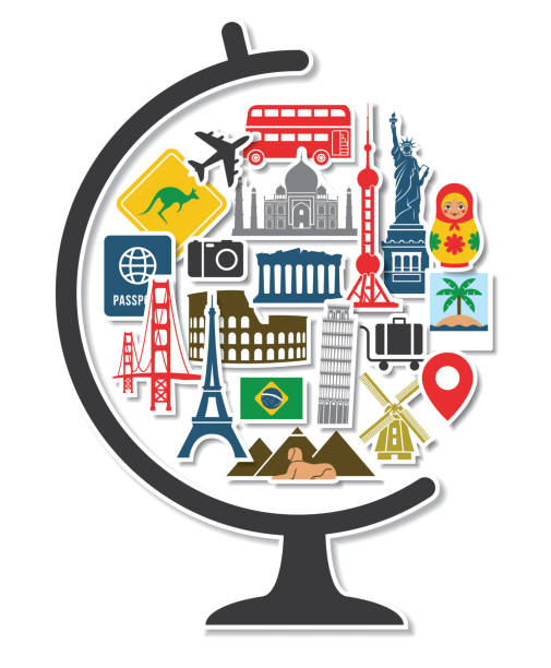 Globe with Travel Icons Landmarks Tourist Vacation Destination Stickers in Round Shape vector art illustration