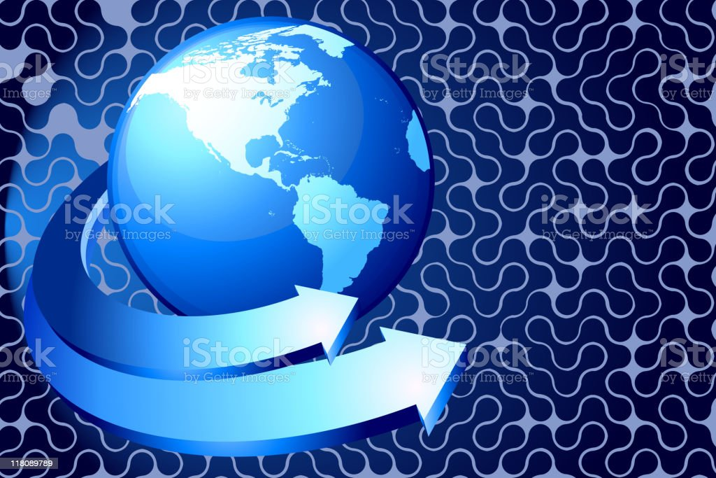 Globe with two arrows on blue Background royalty-free stock vector art