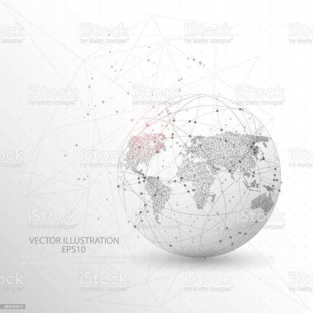 Globus Welt Karte Form Digital Gezeichnet Lowpolydrahtrahmen Stock ...