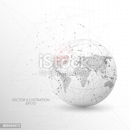 Globe world map shape point, line and composition digitally drawn in the form of broken a part triangle shape and scattered dots low poly wire frame on white background.