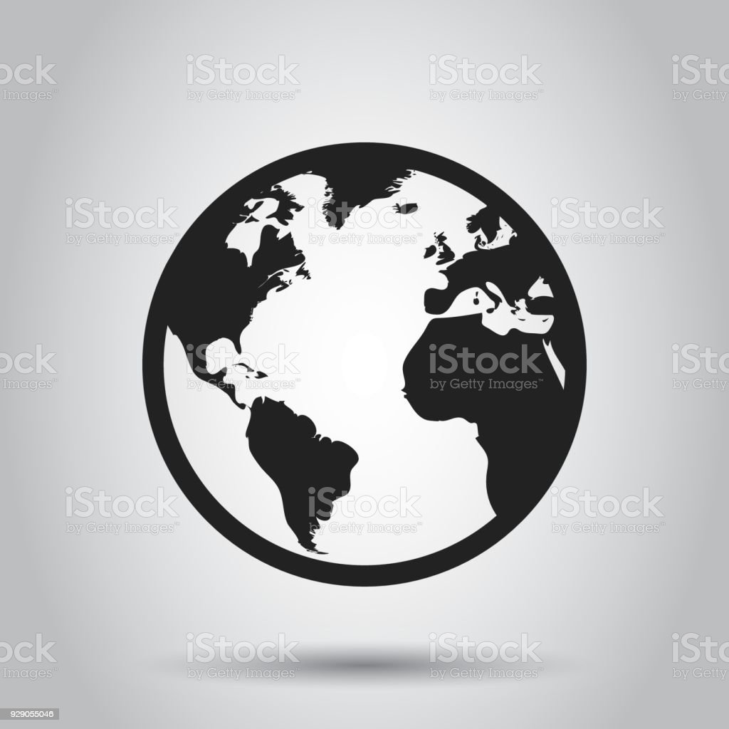 Globe World Map Vector Icon Round Earth Flat Vector Illustration ...