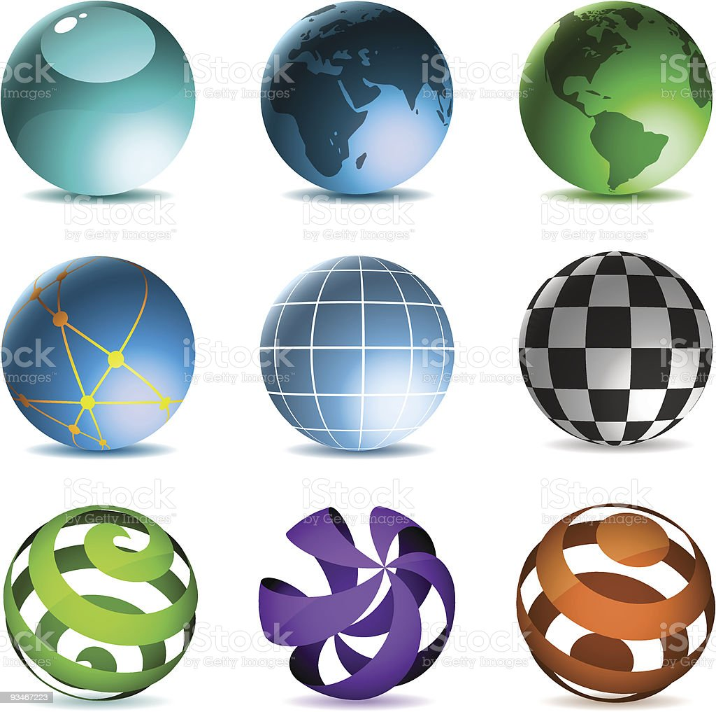Globes and spheres royalty-free stock vector art
