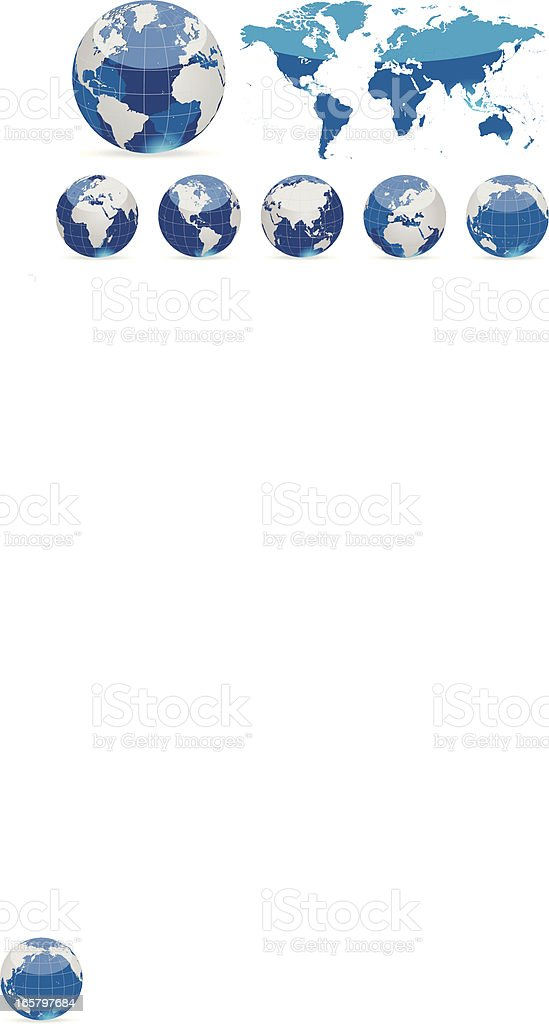Globes and world map blue royalty-free stock vector art