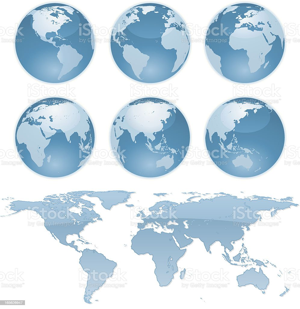 Globes and World Map royalty-free stock vector art