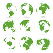 Globes icon collection. Green globe. Planet with continents Africa, Asia, Australia, Europe, Antarctica, North America and South America