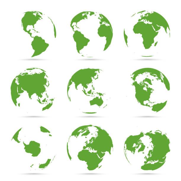 グローブ アイコン コレクション。緑の地球儀。大陸を持つ惑星 - 地球点のイラスト素材/クリップアート素材/マンガ素材/アイコン素材