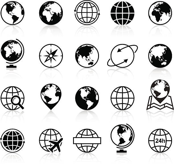 Globes Icons and Symbols - Illustration vector art illustration