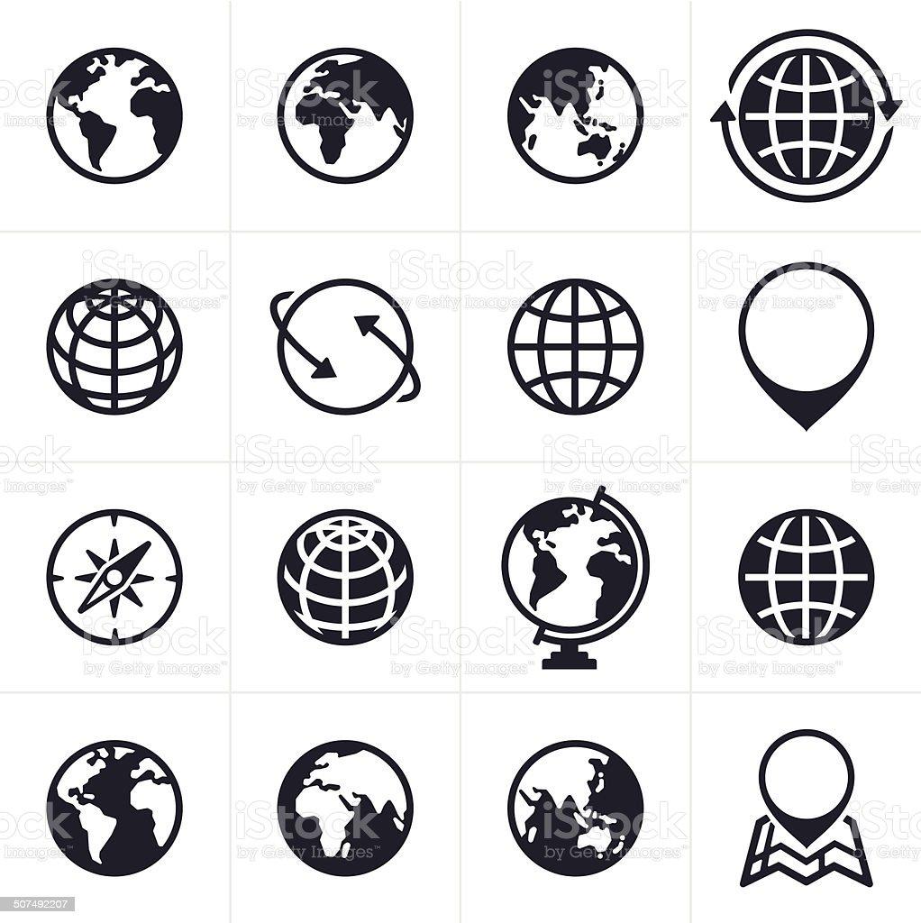 Globos ícones e símbolos - Royalty-free América do Norte arte vetorial