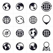 Globe and location symbols.