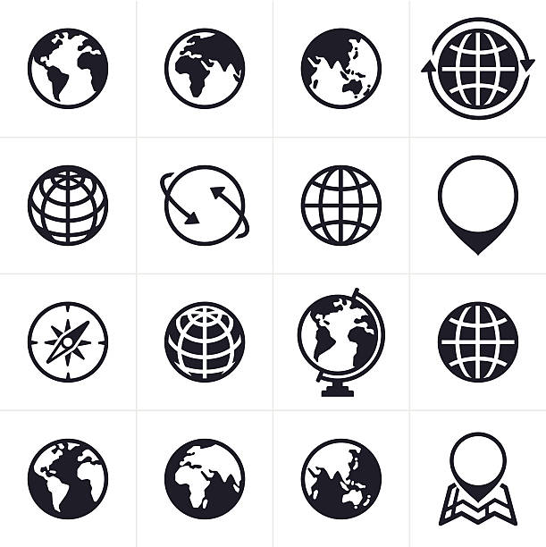 stockillustraties, clipart, cartoons en iconen met globes icons and symbols - planeet aarde