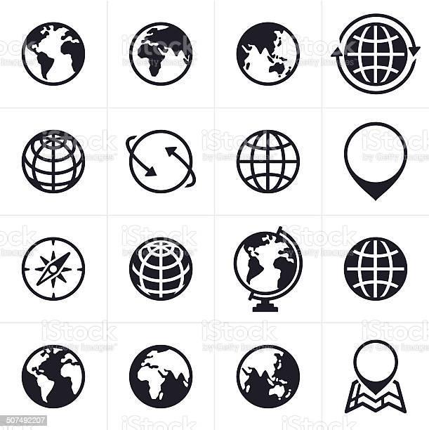 Globos Ícones E Símbolos - Arte vetorial de stock e mais imagens de América do Norte