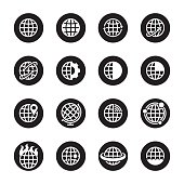 Globes Icons Black Circle Series Vector EPS File.