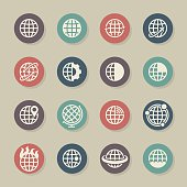 Globes Icons Color Circle Series Vector EPS File.