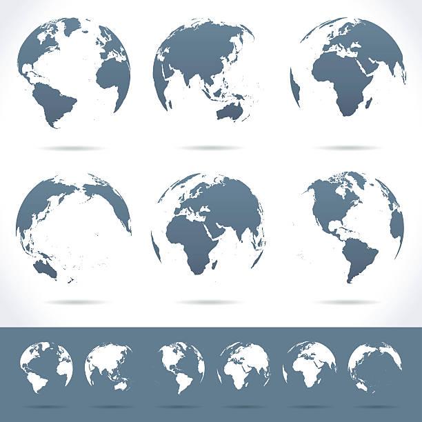 illustrazioni stock, clip art, cartoni animati e icone di tendenza di globes set-illustrazione - medio oriente