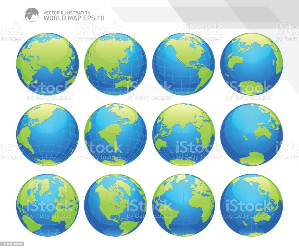 Globes showing earth with all continents. Digital world globe vector. Dotted world map vector. vector art illustration