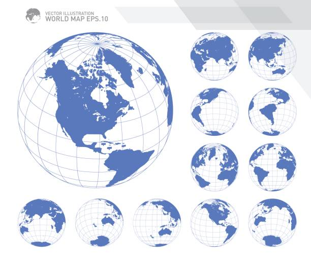 ilustrações de stock, clip art, desenhos animados e ícones de globes showing earth with all continents. digital world globe vector. dotted world map vector. - latitude